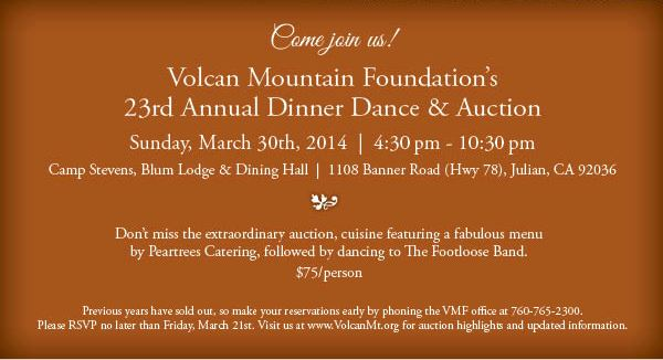 2014 Volcan Mountain Foundation Dinner Dance & Auction, Sunday, March 30th