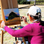 Artist Bettie Rikansrud on the VMF Paint Out; photo by Kathleen Beck